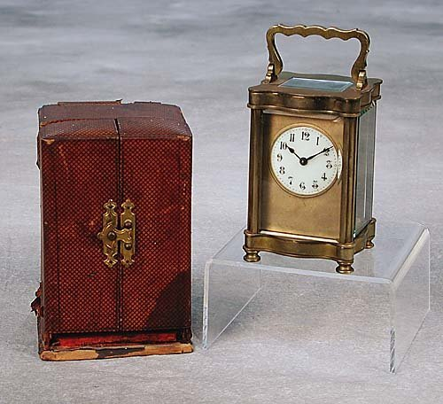 023A: French carriage clock in case circa 190
