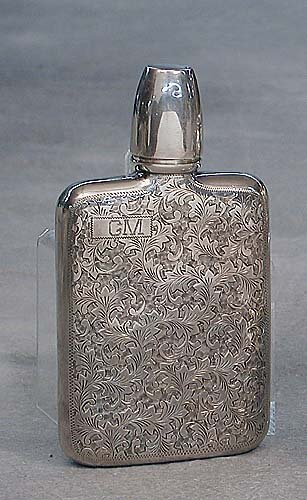 419: Silver flask 20th century .950 silver de