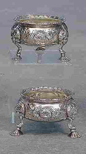 Pair Georgian sterling silver salts, Lon