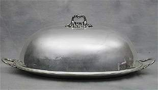 Two silverplate meat covers with trays d
