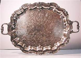 Luna silverplate double handled serving
