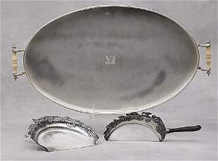 Silverplate tray and crumber butler set