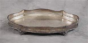 Silverplate footed tray with pierced rim