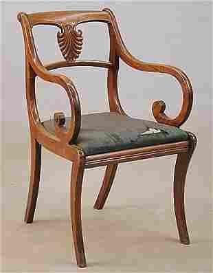 Regency style mahogany side chairs, set