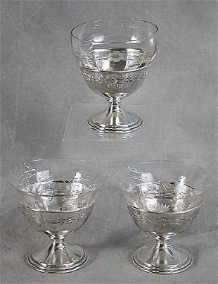 American sterling and glass dessert cups