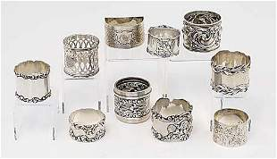 Collection of sterling napkin rings vari