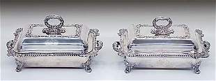 Pair silverplate covered vegetable dishe