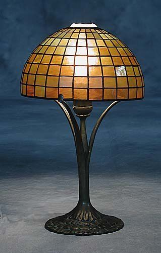 Tiffany Favrile glass and bronze geometr