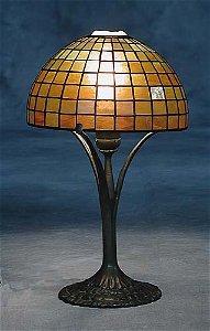 503: Tiffany Favrile glass and bronze geometr