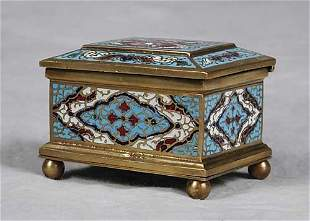 Cloisonne and gilt-brass jewelry box late 19th/early
