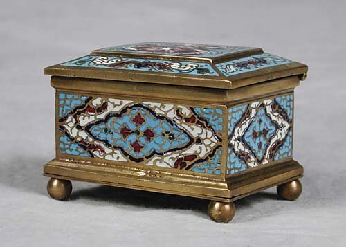 6: Cloisonne and gilt-brass jewelry box late 19th/early