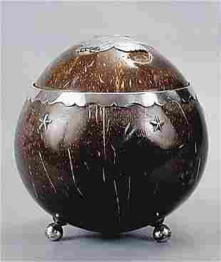 Silver-mounted coconut shell box early 19th century