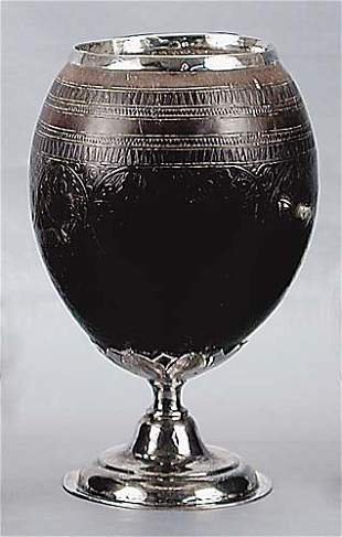 Silver-mounted coconut shell cup early 19th century