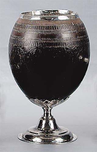 9: Silver-mounted coconut shell cup early 19th century