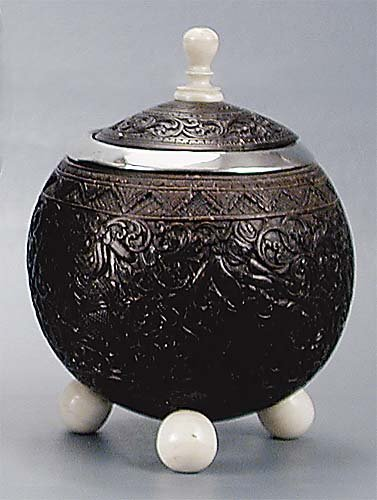 10: Silver-mounted coconut shell cup circa 1810