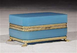 French blue opaline glass box late 19th century