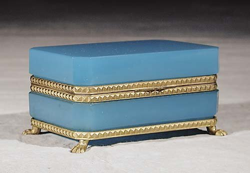 11: French blue opaline glass box late 19th century