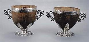 Pair silver-mounted coconut shell cups 19th century