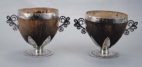 14: Pair silver-mounted coconut shell cups 19th century