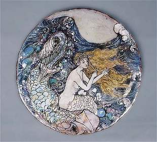Enameled copper plaque early 20th century