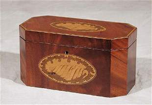 Georgian style inlaid mahogany tea caddy