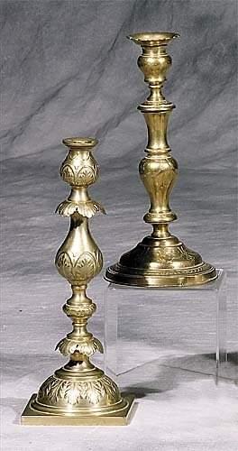 Three Continental brass Sabbath candlesticks late 1