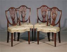 226 George III carved mahogany side chairs set of fou