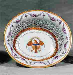 269: Chinese Export porcelain chestnut basket, American