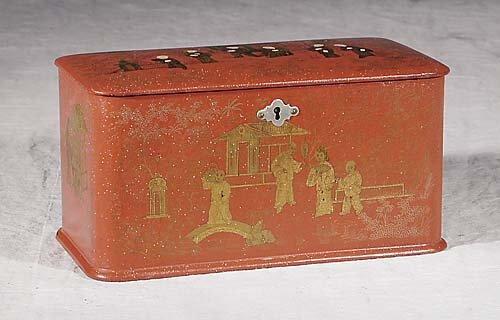 1: Chinese Export lacquered tea caddy 19th century