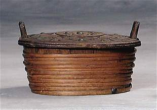 Continental wood and rattan box 19th century