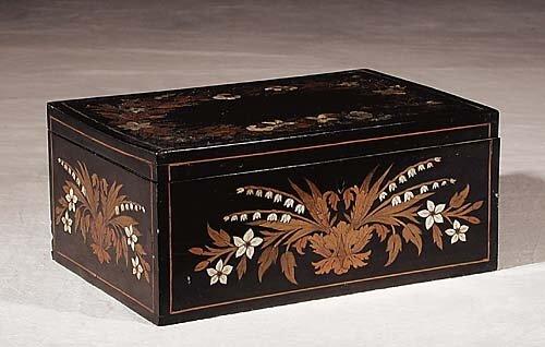 460: Victorian mother-of-pearl inlaid ebony trinket box