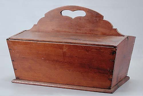 463: American cherry flatware caddy early 19th century