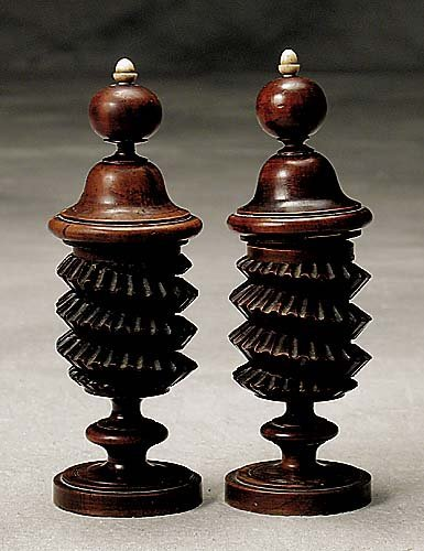 464: Unusual pair walnut covered boxes 19th century
