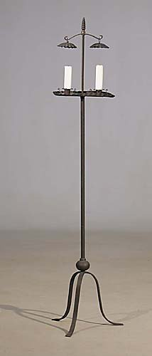 466: American wrought-iron standing candleholder 19th c