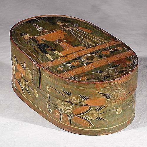 468: Pennsylvania Dutch folk art painted box 18th centu