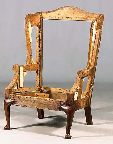 536: American black walnut wing chair frame circa 1800