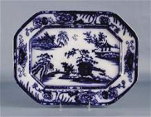 854 English flow blue transferware platter late 19th c
