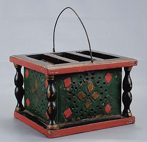 454: American painted tin foot warmer late 19th century