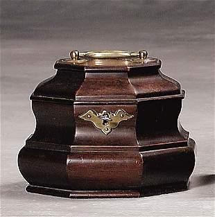 Mahogany tea caddy late 19th/early 20th century