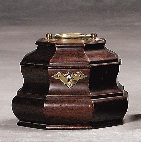 455: Mahogany tea caddy late 19th/early 20th century