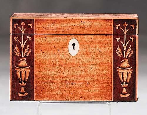 4: English inlaid mahogany tea caddy