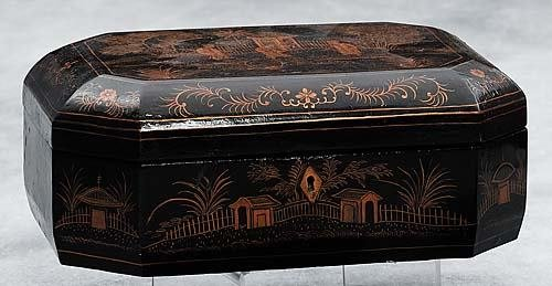 6: Chinoiserie decorated sewing box Date: 19th century