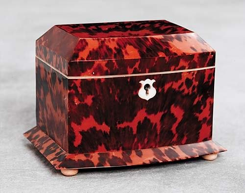 8: Regency style inlaid tortoise tea caddy