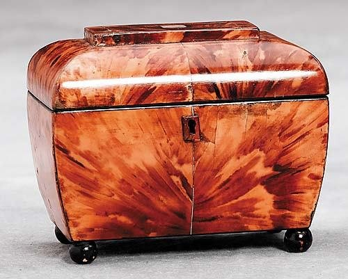 12: Victorian inlaid tortoise tea caddy Date: circa 190