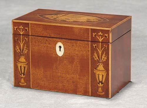 16: English inlaid mahogany tea caddy
