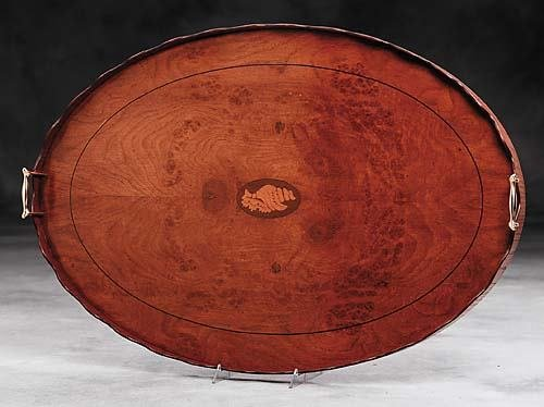 17: Regency style inlaid ash and burl tray