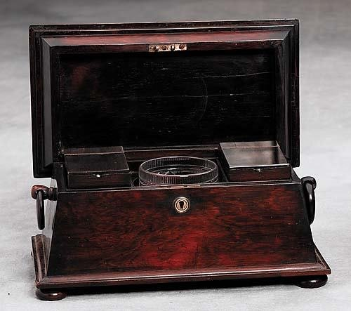19: William IV rosewood tea caddy Date: first half 19th