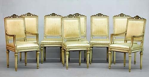 320: Louis XVI style carved fruitwood dining chairs, se