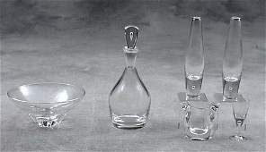 398B: Steuben crystal vases, bowl and decanter