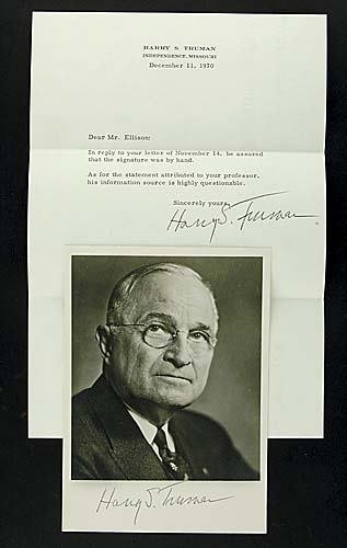401: Harry S. Truman, photograph and letter signed by h